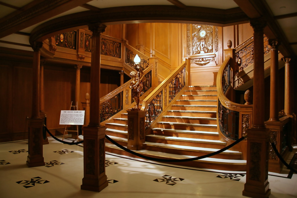 staircase inside titanic