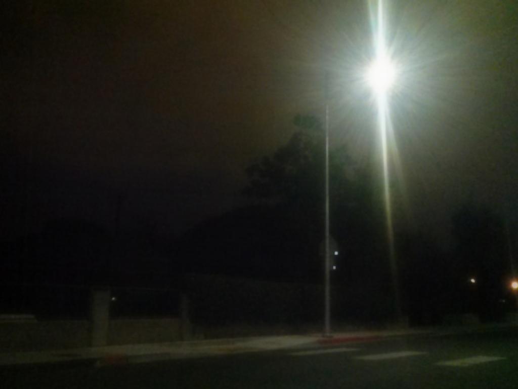 street light against the night