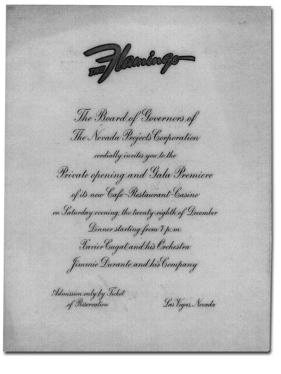 The Flamingo grand opening invitation, 1946. Photo source: HumanisticRationale at English Wikipedia.