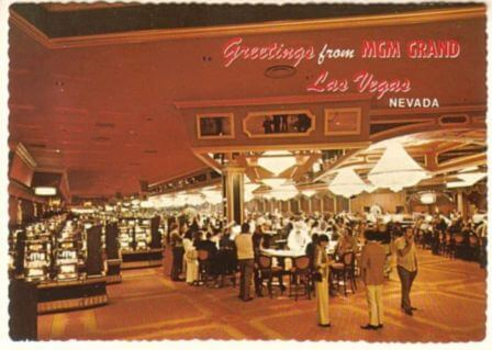 A rare photo, from a vintage postcard, of the MGM Grand casino floor pre-fire.