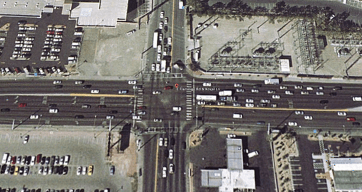 A Google Maps view of the intersection of where the shooting of Tupac occurred.