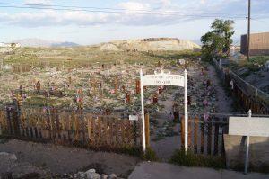 photo shows the tonopah cemetery gate