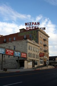 an outside view of nevada's most haunted hotel, the mizpah.