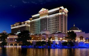 photo shows the towering caesars palace hotel
