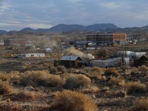 photo shows an aerial view of the goldfield hotel and surrounding desert